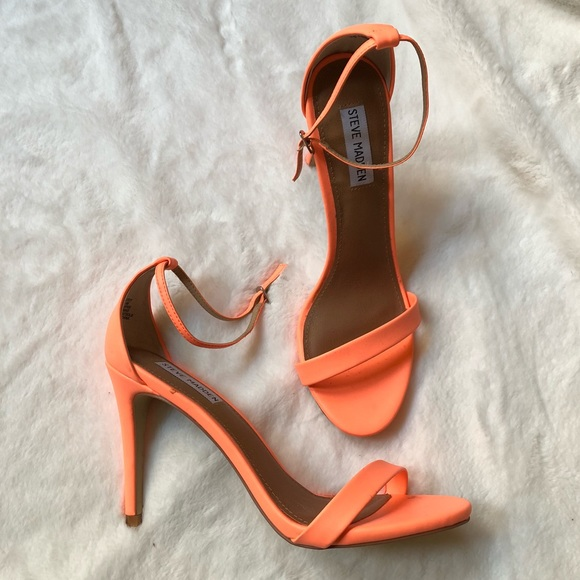 9954a487533 Steve Madden Stecy Coral Neon Ankle Strap Heels. M 5ae63fb08290afb5be58807c